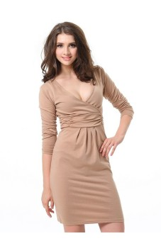 Solid V-Neck Long Sleeve Waisted Medium Fashion Casual Dress Brown