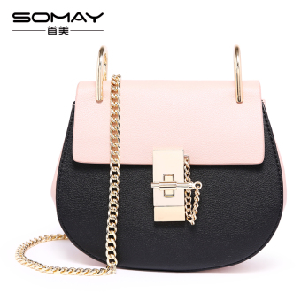Somay versatile New style pig bag women's bag (Black fight pink)
