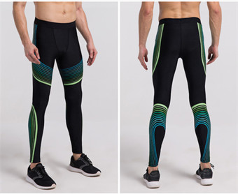 Sport Men Compression Trousers Quick Dry Running Fitness Leggings (Blue&Green)