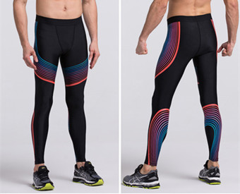 Sport Men Compression Trousers Quick Dry Running Fitness Leggings (Blue&Red)