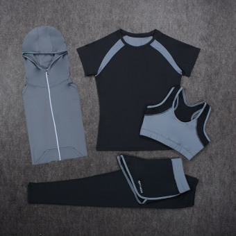 Sports autumn and winter yoga clothes four Professional quick drying clothes (Short sleeved gray suit 2 + hoodie gray)