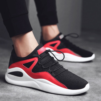 Sports casual canvas autumn running trendy shoes (Black and red)