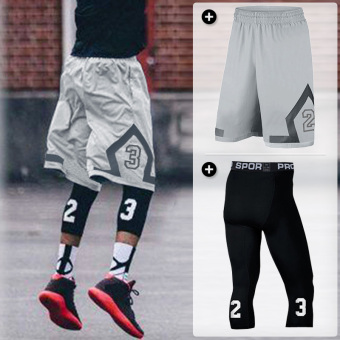 Sports casual fitness quick-drying breathable shorts basketball shorts (BT gray + 23 Black 7 points)