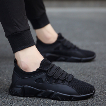 Sports Korean-style canvas running trendy shoes casual shoes (All black)