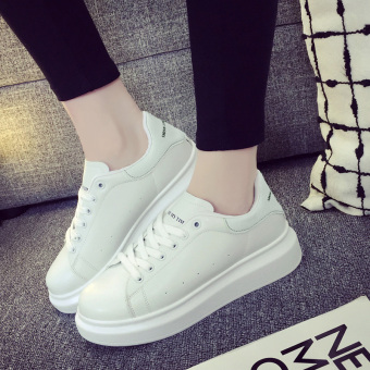 Sports Korean-style female autumn New style lace shoes white shoes (All white)