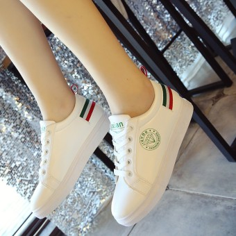Sports leather flat soft girl's shoes white shoes (Black)