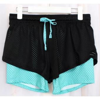 Sports Shorts for Running, Volleyball, Badminton (Green Honeycomb design) Price Philippines