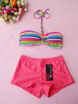 Sports v1664 female boxer split swimsuit swimming clothes (Striped bra + watermelon red boxer)
