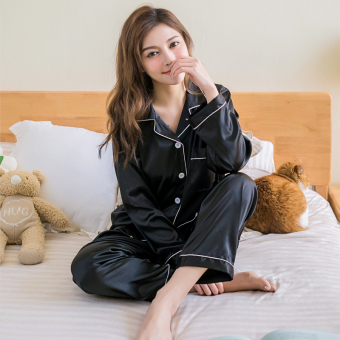 Spring and Autumn model silk pajamas (CX Yao stone black)