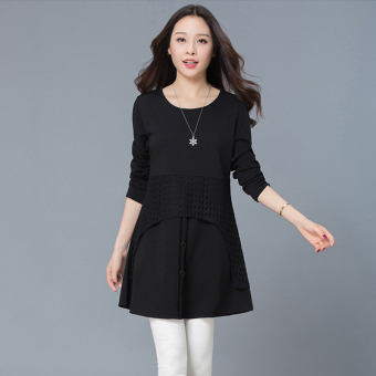 Spring and Autumn New style long section loose bottoming shirt (Black)
