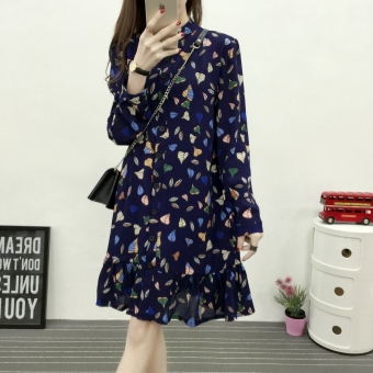 Spring and Autumn New style long-sleeved chiffon floral dress (Blue)