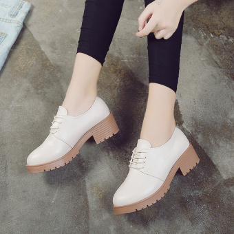 Spring and Autumn New style retro small shoes (Beige)