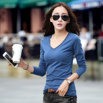 Spring and Autumn New style white long-sleeved t-shirt (Blue)