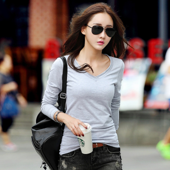 Spring and Autumn New style white long-sleeved t-shirt (Gray)