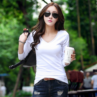 Spring and Autumn New style white long-sleeved t-shirt (White)