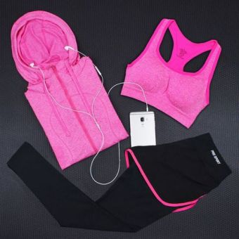 Spring and summer hooded jacket fake two-piece fitness pants yoga clothes (3 No. Suit)
