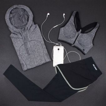Spring and summer hooded jacket fake two-piece fitness pants yoga clothes (7 No. Suit)