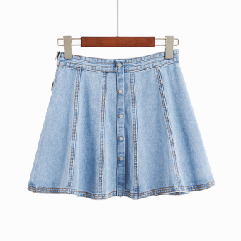 Spring and summer New style Cool Button high-waisted cowboy skirt (Light blue)
