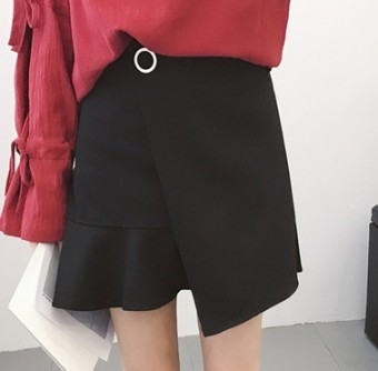 Spring and summer New style high-waisted flounced skirt (Black) (Black)