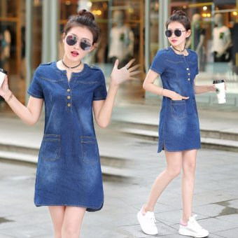 Spring and Summer Women's Republic of Korea Code Easy To Wear Thin Long Sleeved Short of  A-Line Skirt Thin Denim Dress - Dark Blue - intl - 4