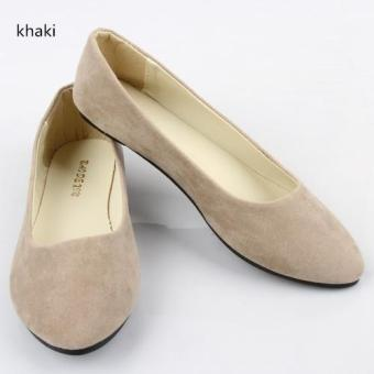 Spring Autumn Korean Fashion Pointed Women Flat Shoes Shallow Mouth Candy Color Shoes (Khaki) - intl