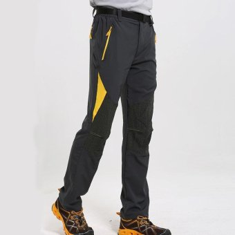 Spring Autumn Men Outdoor Sports Hiking Mountain Wild Cargo PantQuick Dry Trekking Climbing Trousers Stretchy - grey - intl