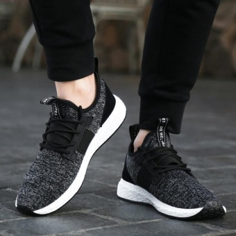 Spring Autumn Men's Sneakers 2017 Men Running Shoes Trending Style Sports Shoes Breathable Trainers Sneakers (Black) - intl