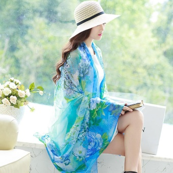 Spring Autumn New Joker Printed Pure Silk Scarves Long Beach TowelOversized Women Shawl Scarf - intl
