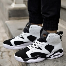 PHP 1.433. Spring high student basketball shoes for men and women wear black couple aj6 basketball shoes cushion sports shoes.