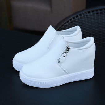 Spring New style side zipper shoes (White)
