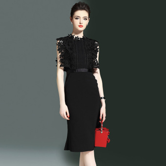 Step Fashion Black lace dress long skirt