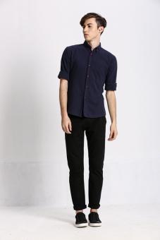 Stitch Men's Oxford Button down Shirt (Navy)(Export) - 3