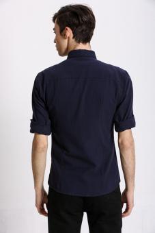 Stitch Men's Oxford Button down Shirt (Navy)(Export) - 4