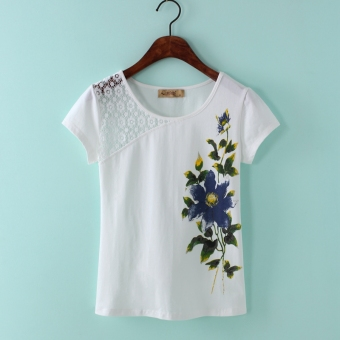 Stitching cotton female Print ladies Top T-shirt