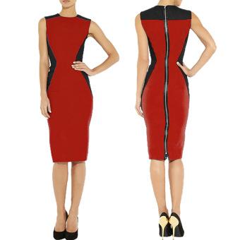 stitching full zip sleeveless sheath dress for women (Blue)