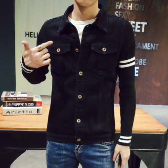 Stitching men knit sleeves young denim jacket spring and autumn jacket