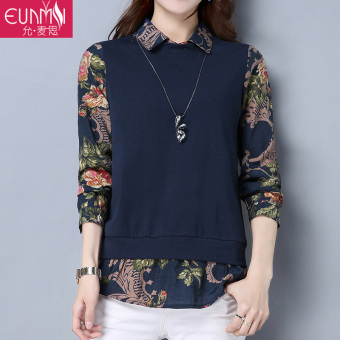 Stitching New style long-sleeved t-shirt Top (Navy)
