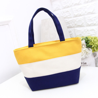 Stitching striped Women's environmentally friendly shoulder bag shopping bag (Yellow) (Yellow)