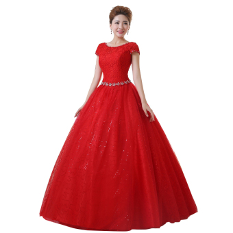 Strapless A-line red ball gown plus size wedding dresses with sleeves