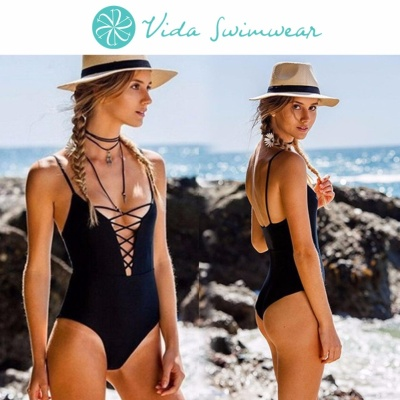 Strappy Monokini Low Cut V-Neck X Details Backless One Piece Swimsuit Women's Swimwear