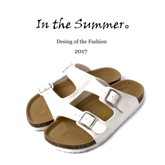 Student non-slip beach sandals and slippers men's shoes (White)
