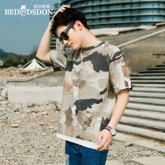Stylish guy's hip hop camouflage Short sleeve short sleeved t-shirt (Khaki)