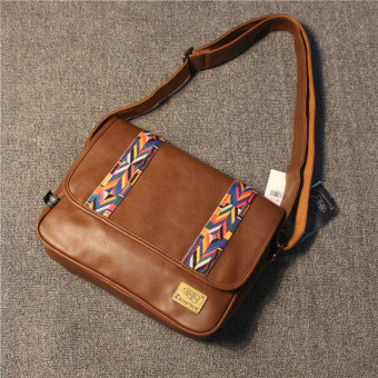Stylish guy's Japan and South Korea New style shoulder bag (Light Brown)