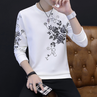 Stylish guy's Korean-style clothes student male base shirt T-shirt (Grape flower White)