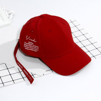 Stylish guy's Korean-style Female Summer long lettered baseball cap hat (Red)