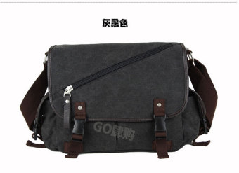 Stylish men's student school bag New style shoulder bag (Gray and black color)