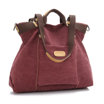Stylish New style bag New style canvas bag (Purple coffee color)