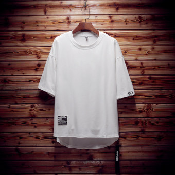 Stylish Plus-sized menswear mid-length T-shirt half-sleeve shirt T-shirt shirt (White) (White)