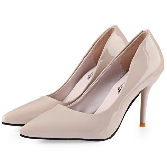 Stylish Pointed Toe Ladies Thin High Heel Shoes(Off-White)(Size:39)- intl