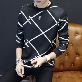 Stylish Slim fit long-sleeved on the base shirt T-shirt (Multi-X black)